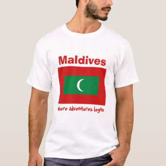 Maldives Flag + Map + Text T-Shirt