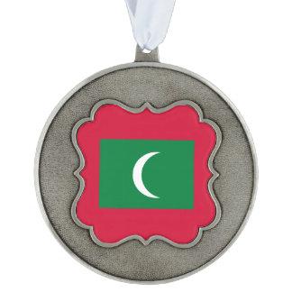 Maldives Flag Scalloped Pewter Ornament