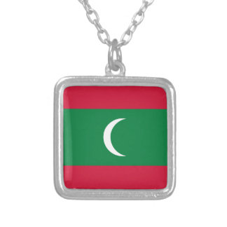 Maldives Flag Silver Plated Necklace