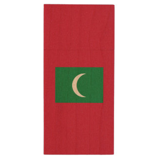 Maldives Flag Wood USB 3.0 Flash Drive