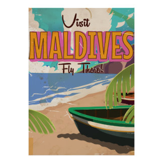 Maldives island vintage travel poster art.