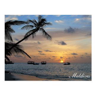 Maldives - Kandoludu island at sunset postcard