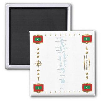 Maldives Map + Flags Magnet