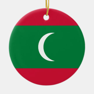 Maldives National World Flag Round Ceramic Ornament