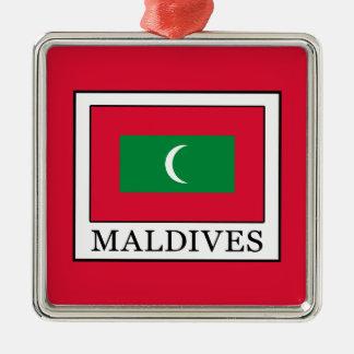 Maldives Silver-Colored Square Ornament