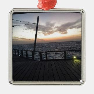 Maldives Sunset Silver-Colored Square Ornament
