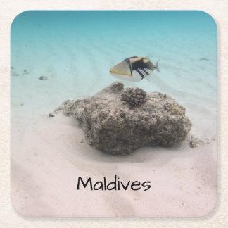 Maldives White Sand Lagoon Coral Fish Souvenir Square Paper Coaster