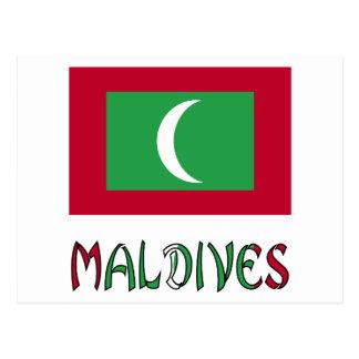 Maldivian Flag and Maldives Postcard