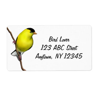 Male American Goldfinch Avery Label Shipping Label