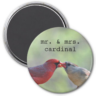 Male and female cardinal photo 3 inch round magnet
