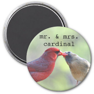 Male and female cardinal photo magnet