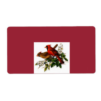 Male and Female cardinals label Shipping Label