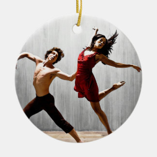 Male and Female Modern Dancers in Red Dress Round Ceramic Ornament