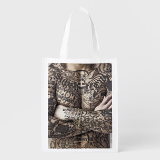 Male Body Tattoo Photograph Reusable Grocery Bag