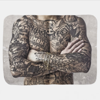 Male Body Tattoo Photograph Swaddle Blanket