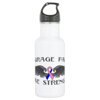 Male Breast Cancer Courage Faith Wings 18oz Water Bottle