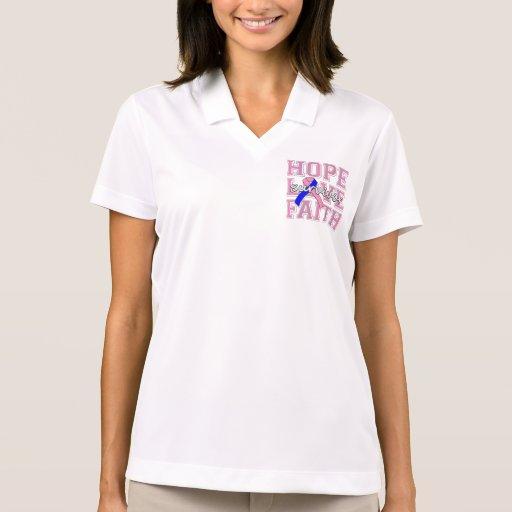 Male Breast Cancer Hope Love Faith Survivor Polo T-shirts