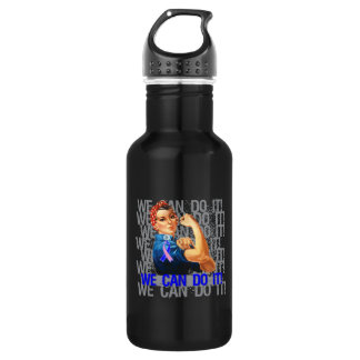 Male Breast Cancer Rosie WE CAN DO IT 18oz Water Bottle
