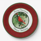 Male Cardinal and Holly Branch Red Paper Plate