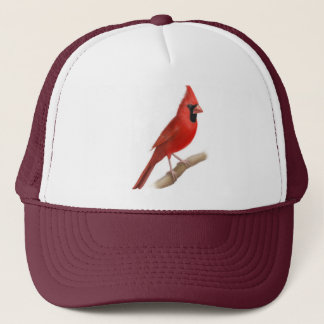 Male Cardinal Red Bird Mesh Hat