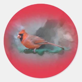 Male Cardinal Songbird Classic Round Sticker