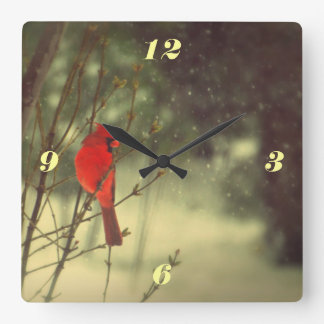 Male Cardinal Square Wall Clock