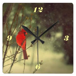 Male Cardinal Wall Clocks