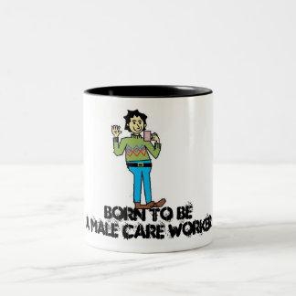 male carer, Born to beA Male Care Worker Two-Tone Coffee Mug