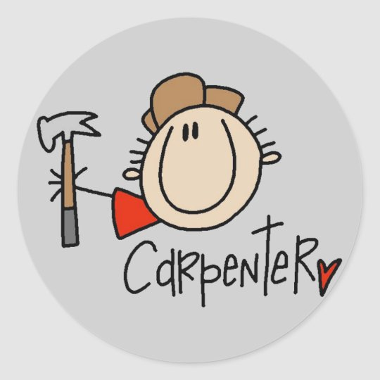Male Carpenter Classic Round Sticker