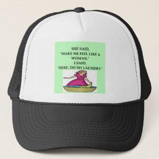 male chauvinist pig joke trucker hat