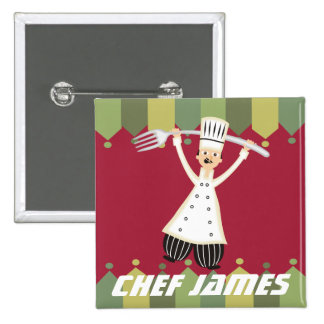 Male chef pantaloons giant fork name badge button