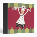 Male chef pantaloons giant fork recipe binder
