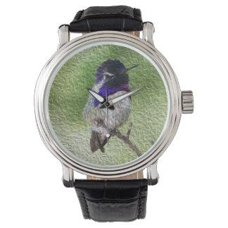 Male Costa Hummingbird Perched on a Branch Wrist Watch