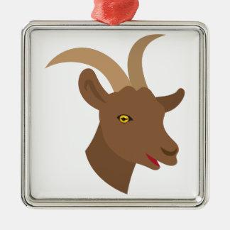 male cute goat face metal ornament