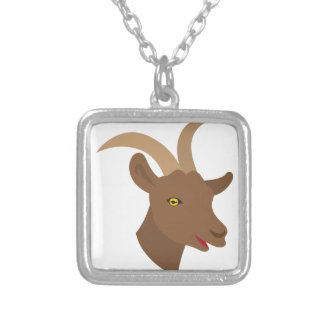 male cute goat face silver plated necklace