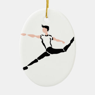 MALE DANCER CERAMIC OVAL ORNAMENT