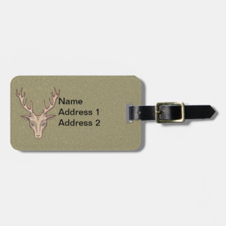 Male Dear Head Illustration Antlers Red Outline Luggage Tag