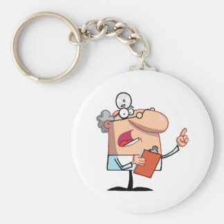 Male Doctor Holding A Clipboard And Hollering Basic Round Button Keychain