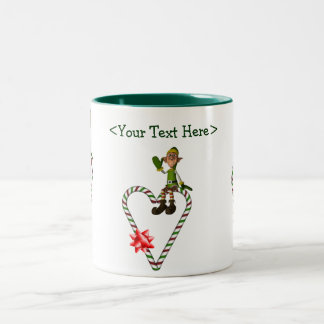 Male Elf  Heart Personalized Christmas Holiday Mug