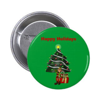 Male Elf Tree Present Christmas Holiday Button Pin