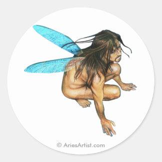 male faerie classic round sticker