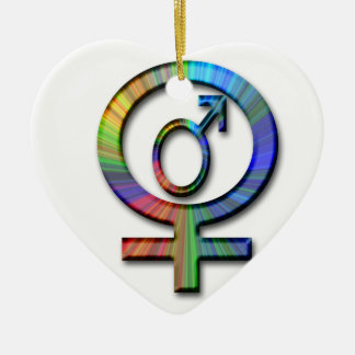 male female symbols ceramic ornament