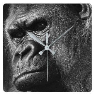 Male Gorilla Square Wall Clock