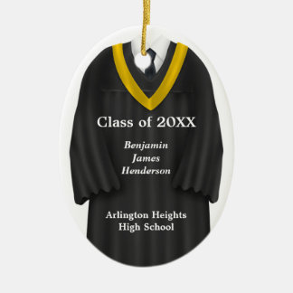 Male Grad Gown Black and Gold Ornament