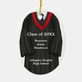 Male Grad Gown Black and Red Ornament