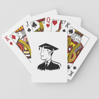 Male Graduate Playing Cards