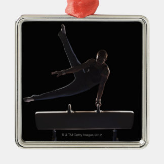 Male gymnast on pommel horse Silver-Colored square ornament
