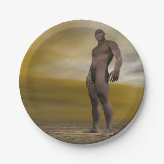 Male homo erectus - 3D render 7 Inch Paper Plate