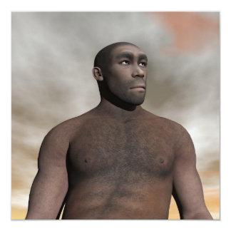 Male homo erectus - 3D render Card