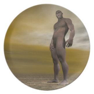 Male homo erectus - 3D render Dinner Plate